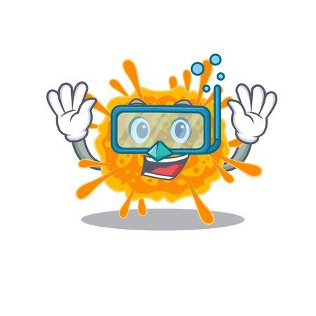 nobecovirus mascot design concept wearing diving glasses. Vector illustration