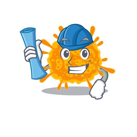 Cartoon character of nobecovirus brainy Architect with blue prints and blue helmet. Vector illustration