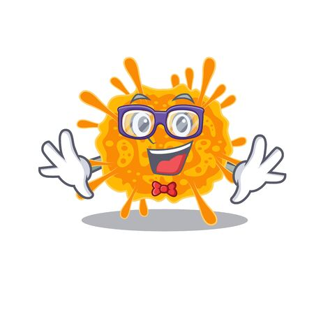 Mascot design style of geek nobecovirus with glasses. Vector illustration