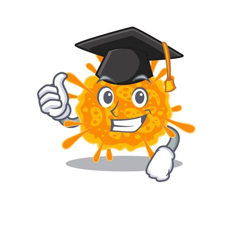Happy face of nobecovirus in black graduation hat for the ceremony. Vector illustration
