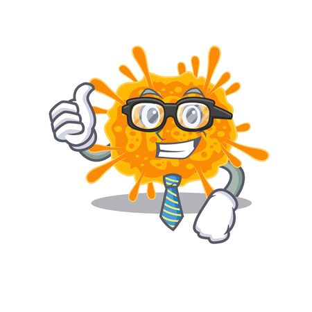 An elegant nobecovirus Businessman mascot design wearing glasses and tie. Vector illustration