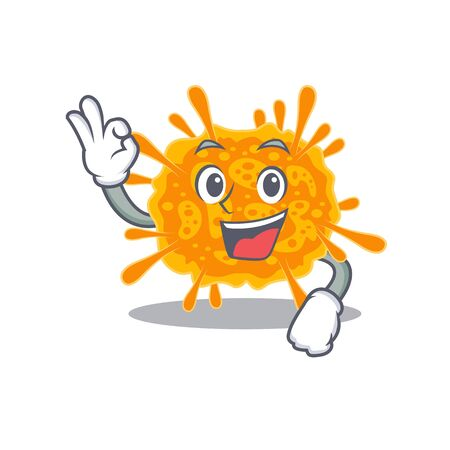 nobecovirus mascot design style with an Okay gesture finger. Vector illustration