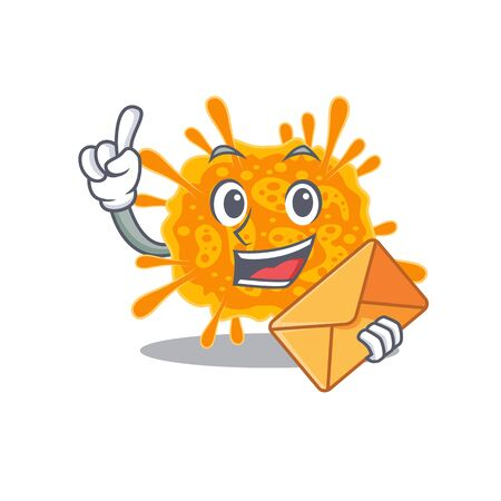 Happy nobecovirus mascot design concept with brown envelope. Vector illustration