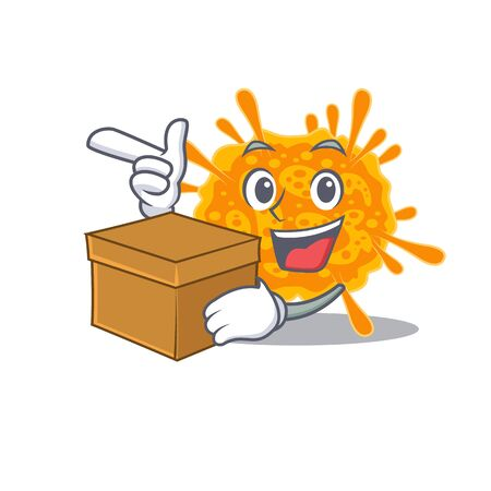An picture of nobecovirus cartoon design concept holding a box. Vector illustration