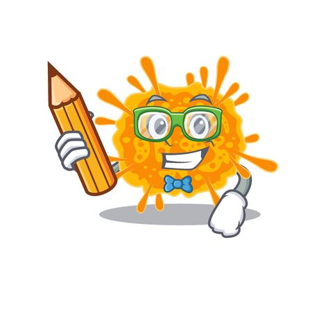 A brainy student nobecovirus cartoon character with pencil and glasses. Vector illustration