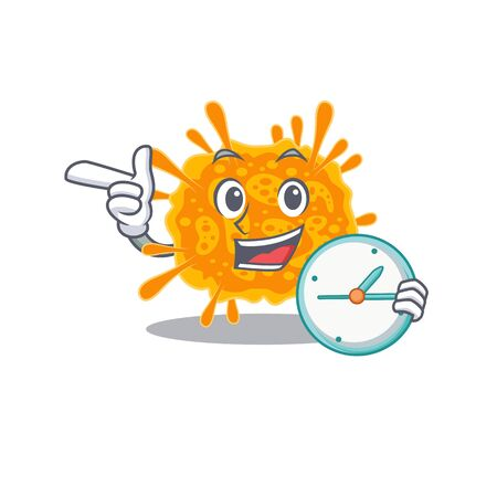 nobecovirus mascot design concept smiling with clock. Vector illustration