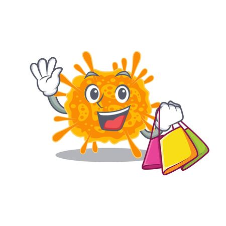 Rich and famous nobecovirus cartoon character holding shopping bags. Vector illustration 向量圖像