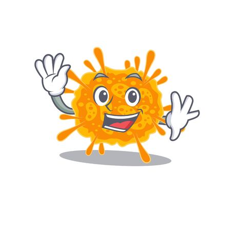 A charismatic nobecovirus mascot design style smiling and waving hand. Vector illustration