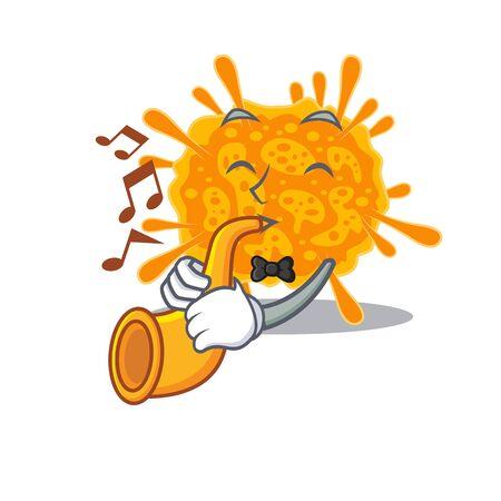 Talented musician of nobecovirus cartoon design playing a trumpet. Vector illustration