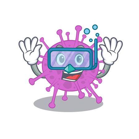 Avian coronavirus mascot design concept wearing diving glasses