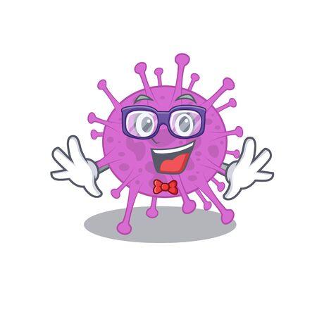 Mascot design style of geek avian coronavirus with glasses