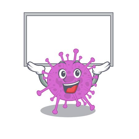 Mascot design of avian coronavirus lift up a board