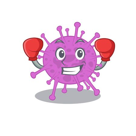 A sporty boxing athlete mascot design of avian coronavirus with red boxing gloves 向量圖像