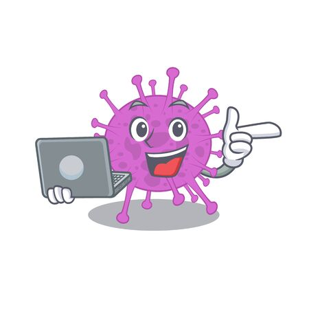 Cartoon character of avian coronavirus clever student studying with a laptop