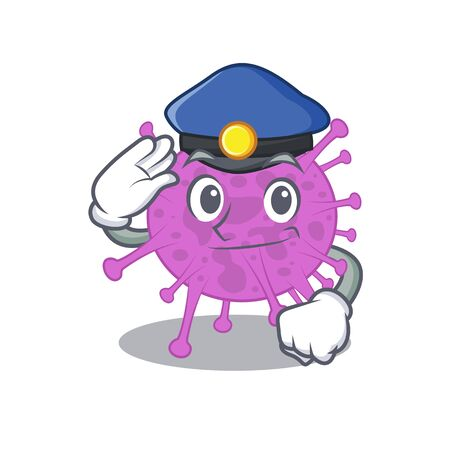 Police officer mascot design of avian coronavirus wearing a hat 向量圖像
