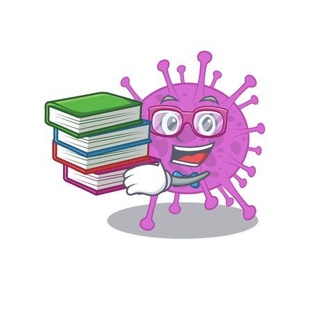 A diligent student in avian coronavirus mascot design concept with books