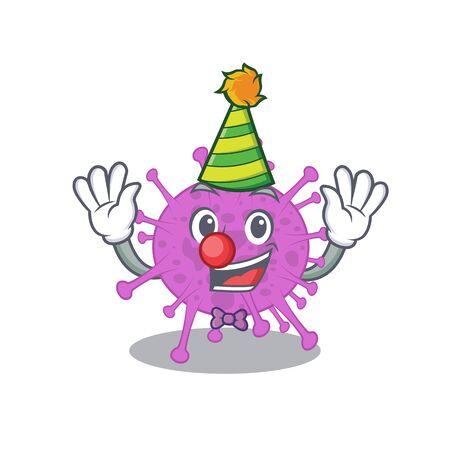 cartoon character design concept of cute clown avian coronavirus 向量圖像