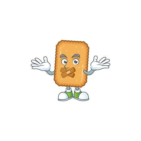 Biscuit mascot cartoon design with quiet finger gesture. Vector illustration
