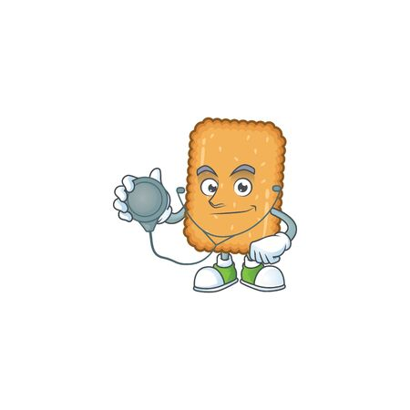 A dedicated Doctor biscuit Cartoon character with stethoscope. Vector illustration