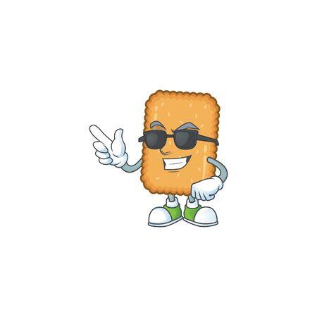 Super cute biscuit cartoon character wearing black glasses. Vector illustration