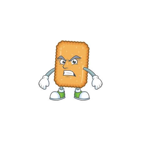 Mascot design style of biscuit with angry face. Vector illustration 向量圖像