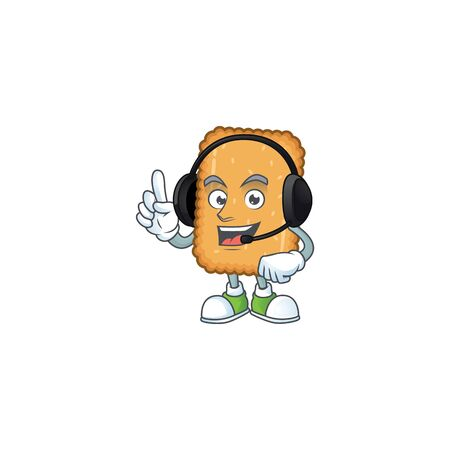 Biscuit cartoon character style speaking on headphone. Vector illustration Ilustração