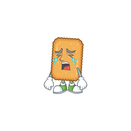 A weeping biscuit cartoon character design concept. Vector illustration