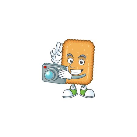 Biscuit photographer mascot design concept using an expensive camera. Vector illustration