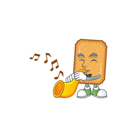 A brilliant musician of biscuit cartoon character playing a trumpet. Vector illustration