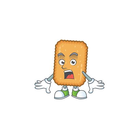A cartoon design of biscuit showing an amazed gesture. Vector illustration