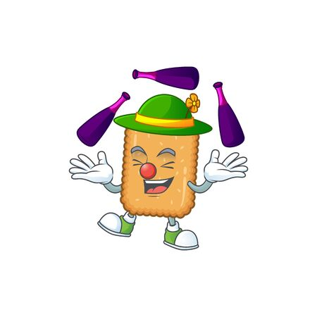 mascot cartoon style of biscuit playing Juggling on stage. Vector illustration