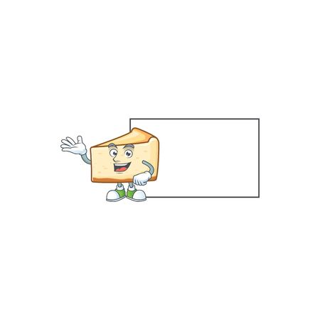 An image of cheese cake with board mascot design style. Vector illustration