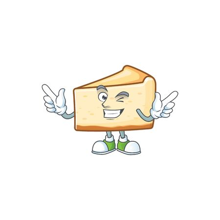 Cartoon character design concept of cheese cake cartoon design style with wink eye. Vector illustration