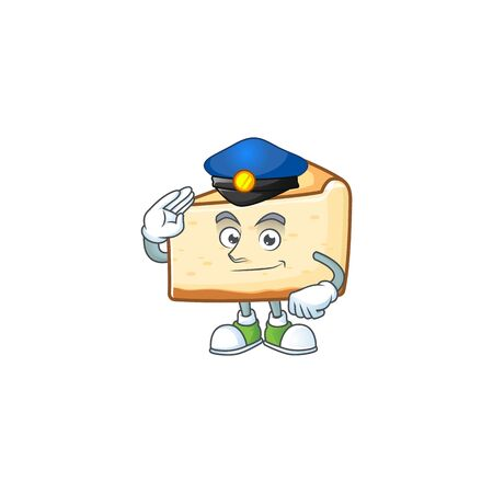 A dedicated Police officer of cheese cake mascot design style. Vector illustration
