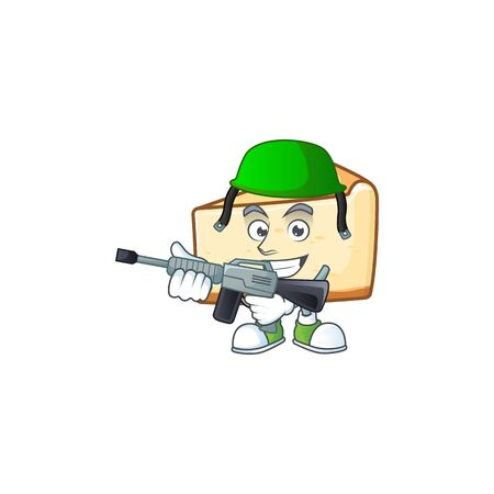 An elegant cheese cake Army mascot design style using automatic gun. Vector illustration