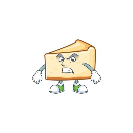 Mascot design style of cheese cake with angry face. Vector illustration