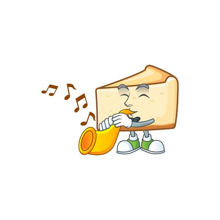 A brilliant musician of cheese cake cartoon character playing a trumpet. Vector illustration