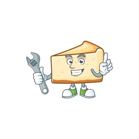 A mechanic cheese cake mascot character fix a broken machine. Vector illustration