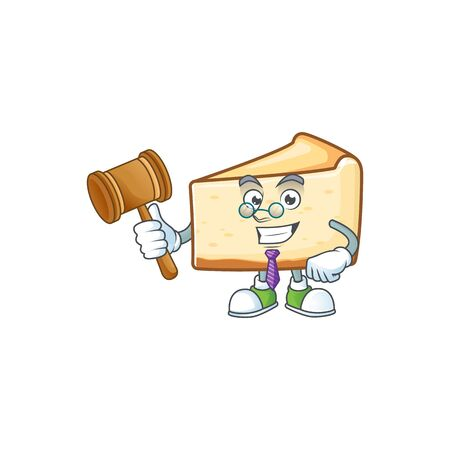 Charismatic Judge cheese cake cartoon character design with glasses. Vector illustration