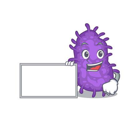 Bacteria bacilli cartoon character design style with board