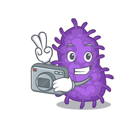 Bacteria bacilli mascot design as a professional photographer working with camera 向量圖像
