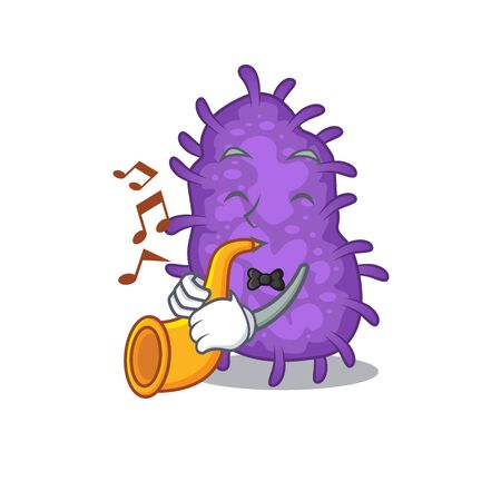 Talented musician of bacteria bacilli cartoon design playing a trumpet 向量圖像