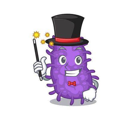 An attractive Magician of bacteria bacilli cartoon design