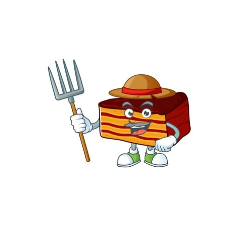 Mascot design style of Farmer dobos torte with hat and pitchfork. Vector illustration
