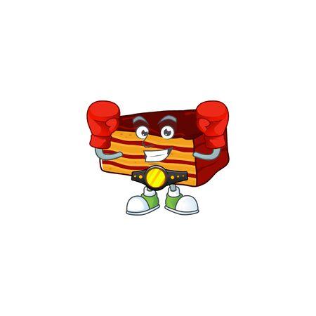 A sporty dobos torte boxing athlete cartoon mascot design style. Vector illustration