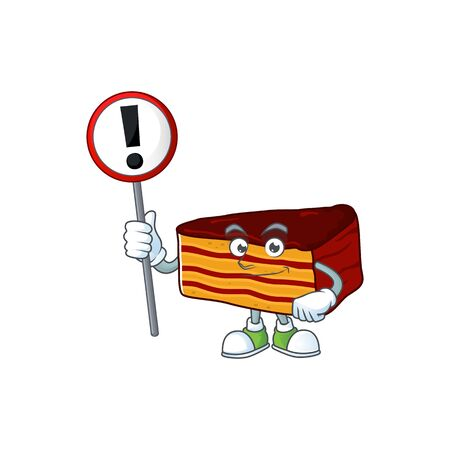 A picture of dobos torte cartoon character concept holding a sign. Vector illustration