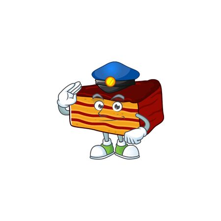 A dedicated Police officer of dobos torte mascot design style. Vector illustration