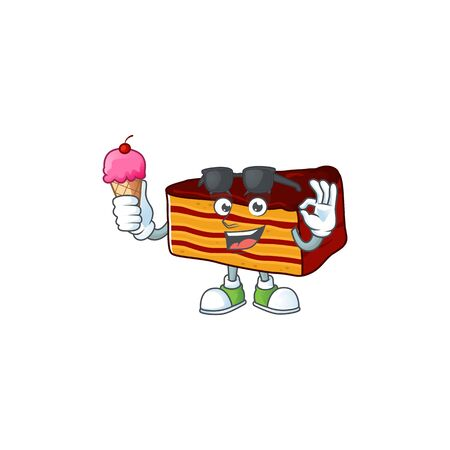 Cute dobos torte cartoon character enjoying an ice cream. Vector illustration
