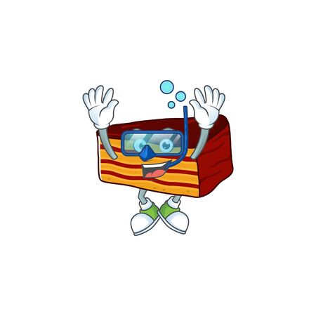 Mascot design concept of dobos torte wearing Diving glasses. Vector illustration