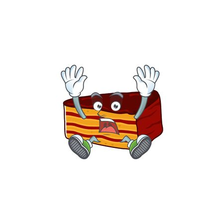 Dobos torte cartoon character design showing shocking gesture. Vector illustration